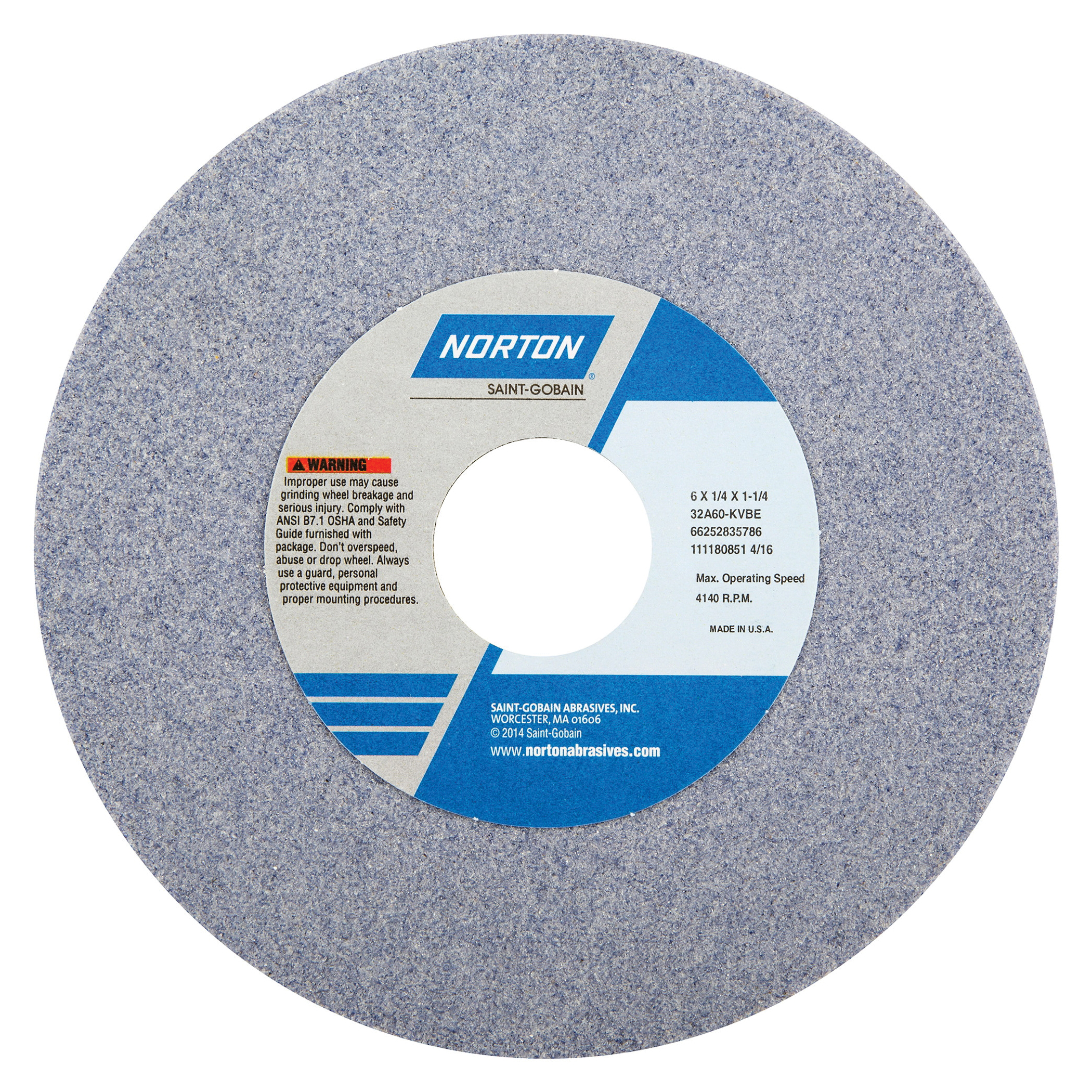 Norton® 66252835786 32A Straight Toolroom Wheel, 6 in Dia x 1/4 in THK, 1-1/4 in Center Hole, 60 Grit, Aluminum Oxide Abrasive