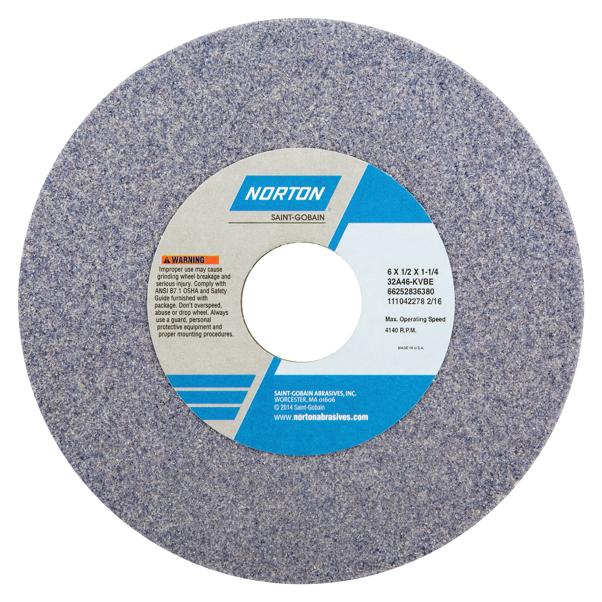 Norton® 66252836396 32A Straight Toolroom Wheel, 6 in Dia x 1/2 in THK, 1-1/4 in Center Hole, 60 Grit, Aluminum Oxide Abrasive