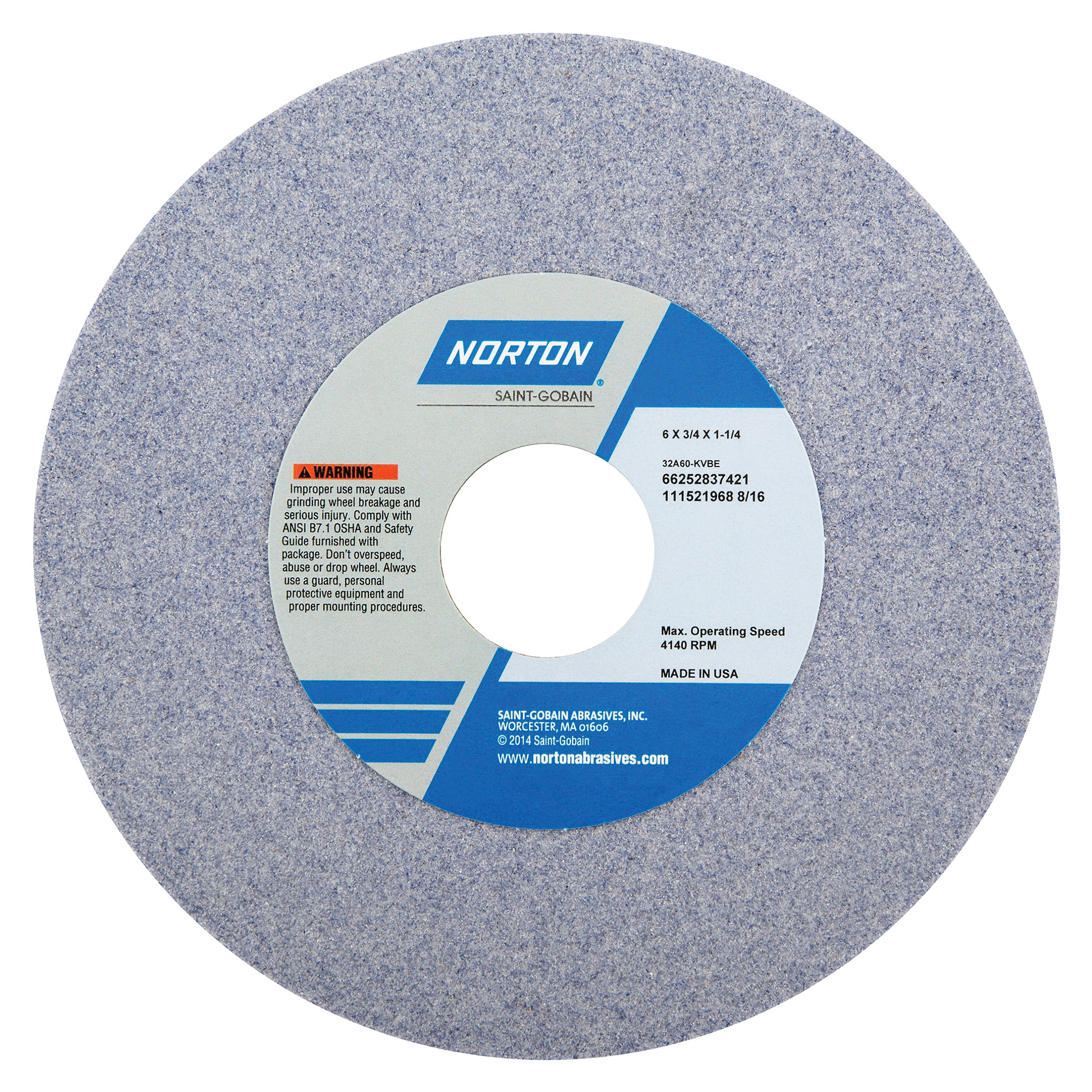Norton® 66252837421 32A Straight Toolroom Wheel, 6 in Dia x 3/4 in THK, 1-1/4 in Center Hole, 60 Grit, Aluminum Oxide Abrasive
