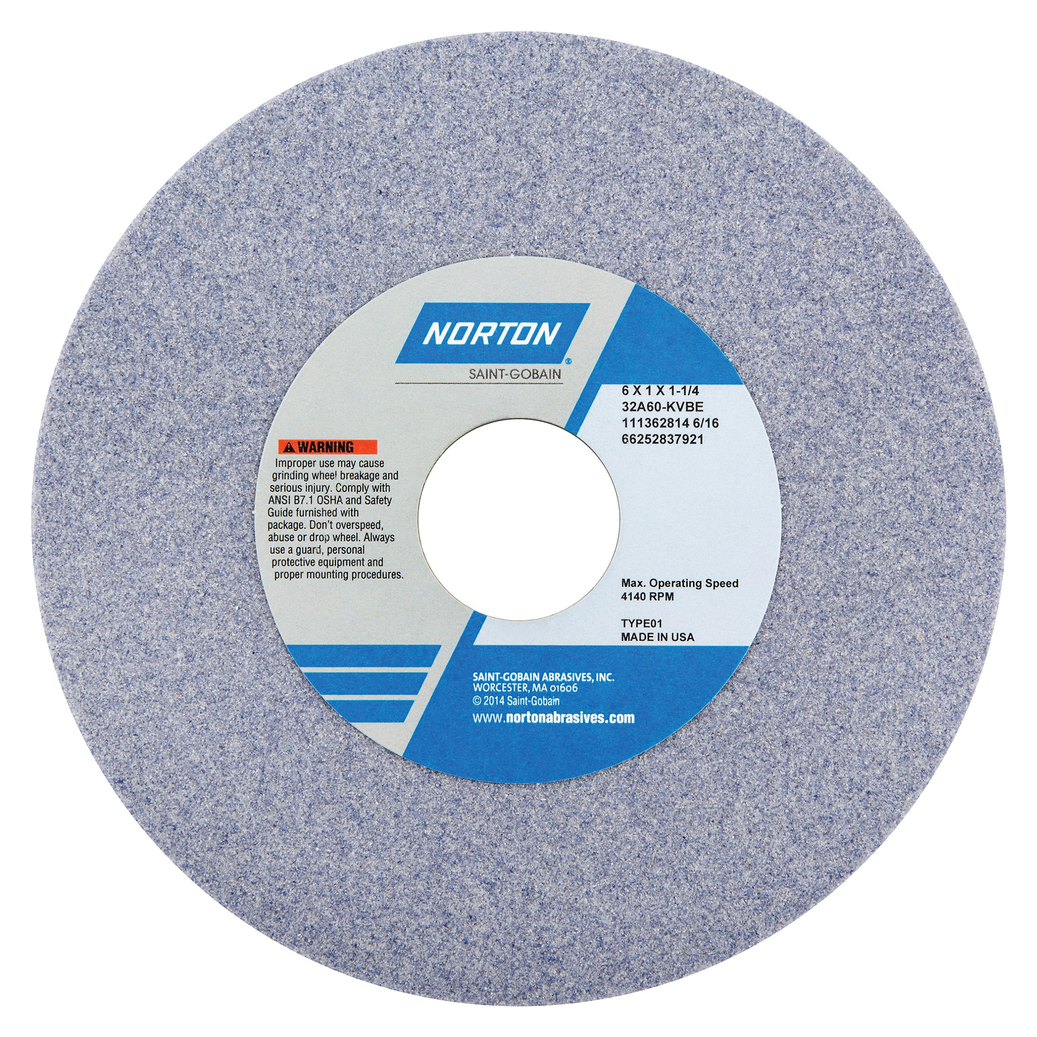 Norton® 66252837921 32A Straight Toolroom Wheel, 6 in Dia x 1 in THK, 1-1/4 in Center Hole, 60 Grit, Aluminum Oxide Abrasive