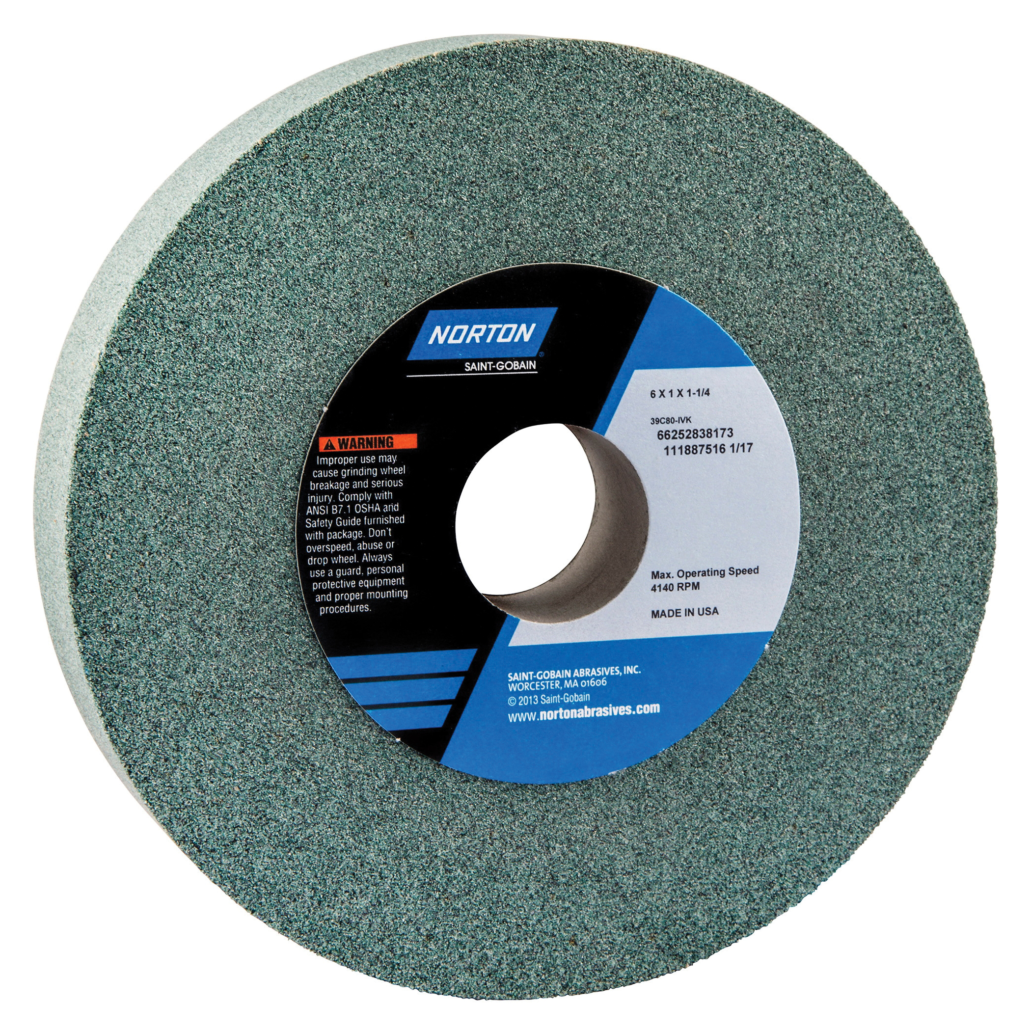 Norton® 66252838173 39C Straight Toolroom Wheel, 6 in Dia x 1 in THK, 1-1/4 in Center Hole, 80 Grit, Silicon Carbide Abrasive