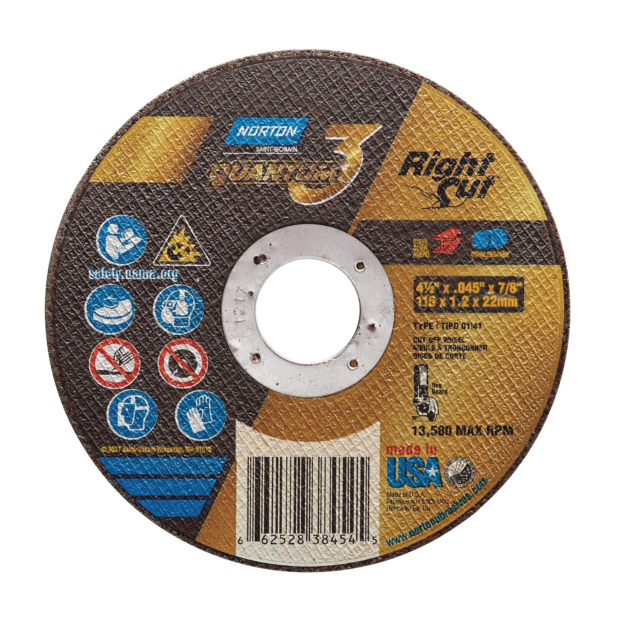 Norton® Quantum™3 RightCut® 66252838454 Small Diameter Cut-Off Wheel, 4-1/2 in Dia x 0.045 in THK, 7/8 in Center Hole, 36 Grit, Ceramic Alumina Abrasive