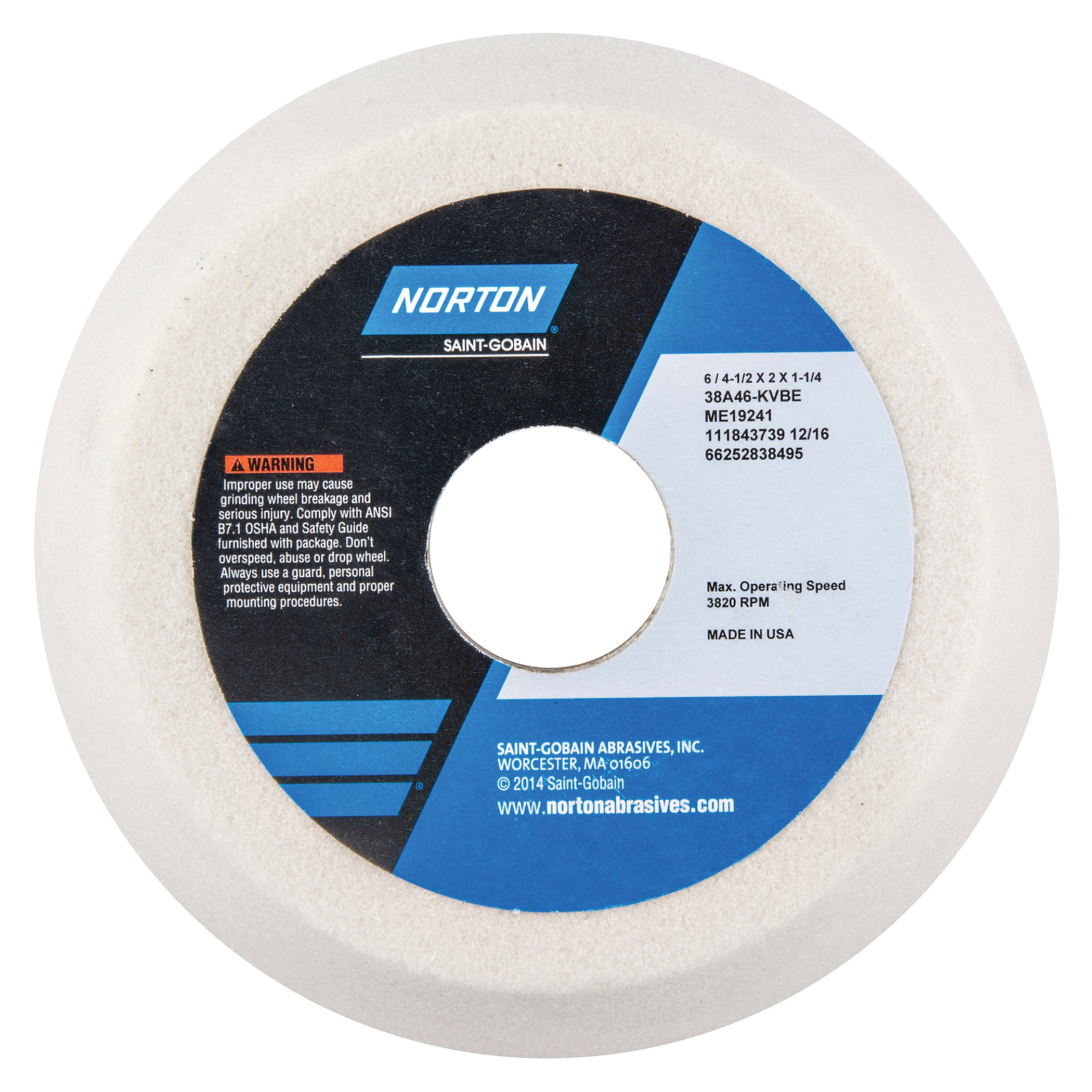 Norton® 66252838495 38A Flaring Cup Toolroom Wheel, 6 in Dia x 2 in THK, 1-1/4 in Center Hole, 46 Grit, Aluminum Oxide Abrasive