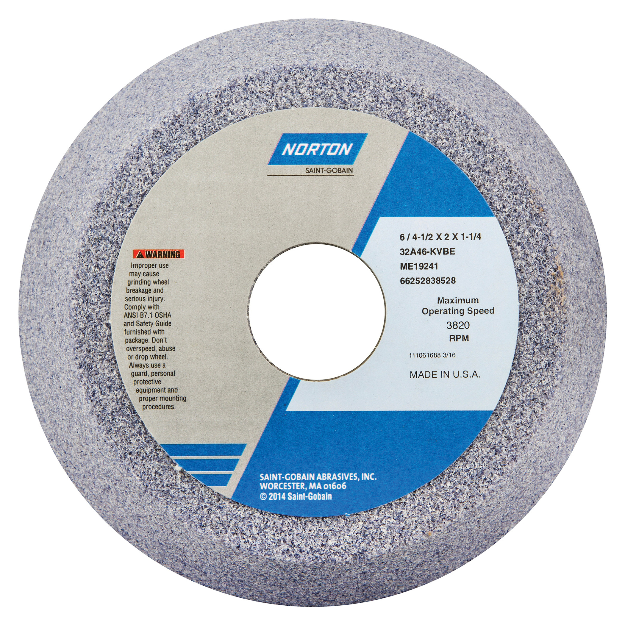 Norton® 66252838528 32A Toolroom Wheel, 6 in Dia x 2 in THK, 1-1/4 in Center Hole, 46 Grit, Aluminum Oxide Abrasive