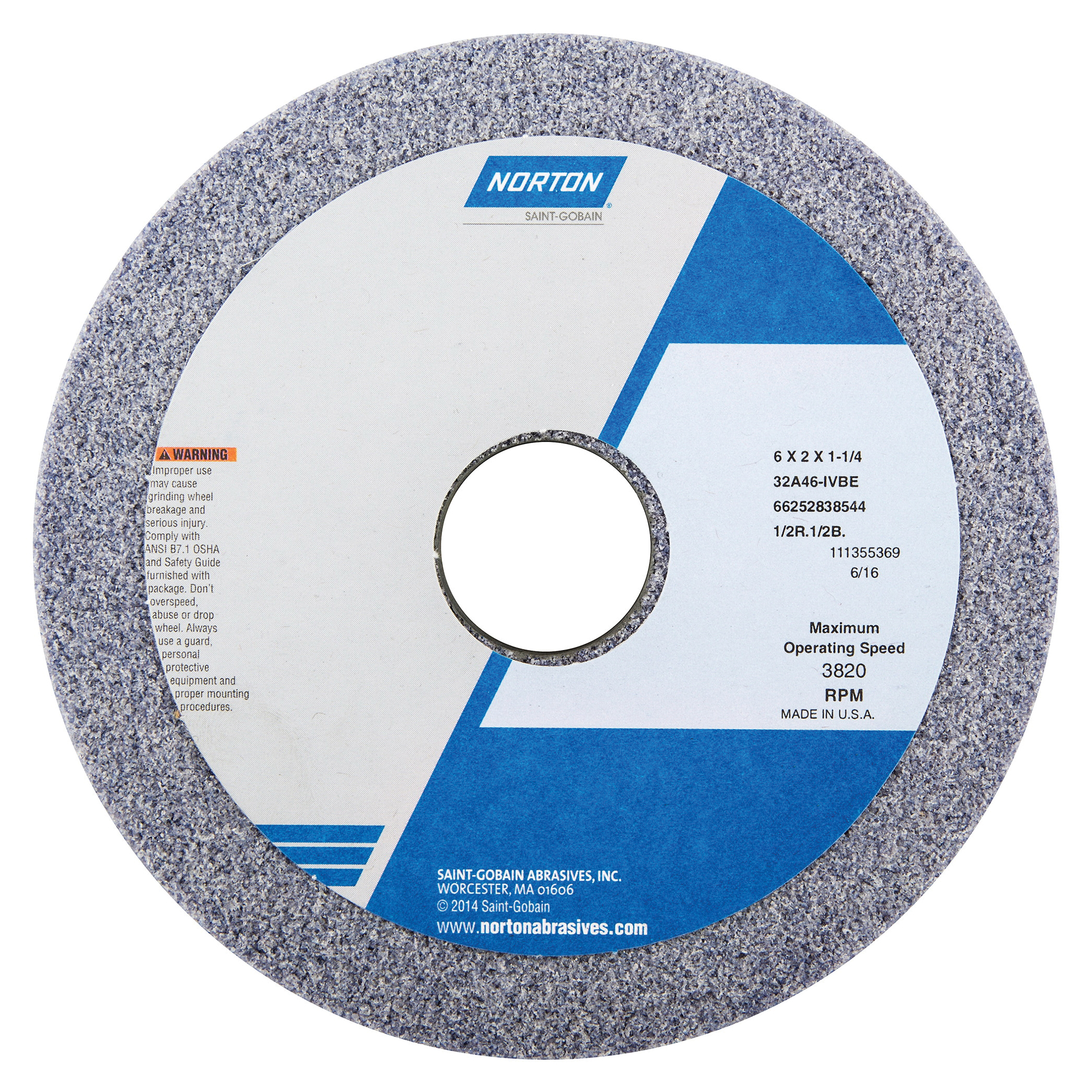 Norton® 66252838538 32A Straight Toolroom Wheel, 6 in Dia x 2 in THK, 1-1/4 in Center Hole, 60 Grit, Aluminum Oxide Abrasive