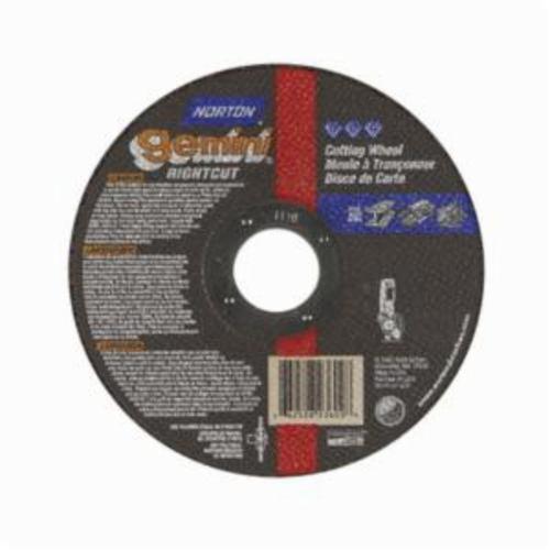 Norton® Gemini® RightCut™ 66252841213 RC45G All Purpose Cut-Off Wheel, 4-1/2 in Dia x 0.045 in THK, 7/8 in Center Hole, 36 Grit, Aluminum Oxide Abrasive