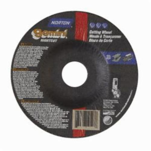 Norton® Gemini® RightCut™ 66252841912 Contaminant-Free Cut-Off Wheel With Quick-Change Hub, 4-1/2 in Dia x 0.045 in THK, 7/8 in Center Hole, 24 Grit, Aluminum Oxide Abrasive