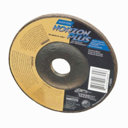 Norton® NorZon® Plus® 66252842001 Type 27/42 Depressed Center Cut-Off Wheel, 4 in Dia x 1/8 in THK, 3/8 in Center Hole, 24 Grit, Ceramic Abrasive