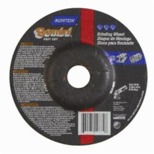 Norton® Gemini® Fast Cut™ 66252842020 DC414GFC Type 27 Depressed Center Cut-Off Wheel With Quick-Change Hub, 4 in Dia x 1/4 in THK, 5/8 in Center Hole, 24 Grit, Aluminum Oxide Abrasive