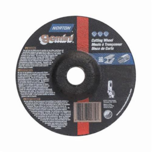 Norton® Gemini® 66252842021 Depressed Center Wheel, 6 in Dia x 1/8 in THK, 7/8 in Center Hole, 24 Grit, Aluminum Oxide Abrasive