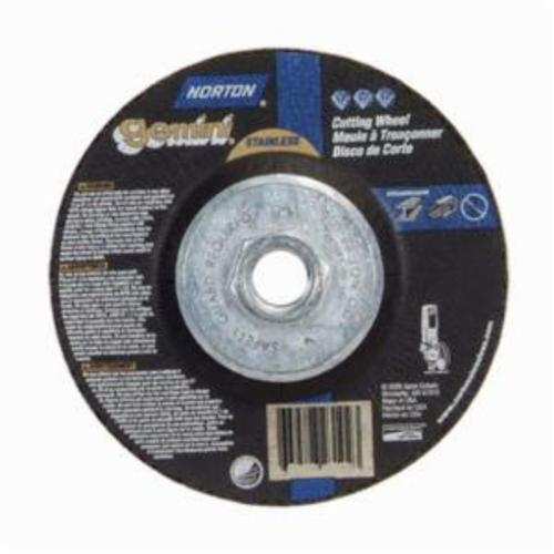 Norton® Gemini® RightCut™ 66252842027 DC45332HGSS Contaminant-Free Mini Cut-Off Wheel With Quick-Change Hub, 4-1/2 in Dia x 3/32 in THK, 24 Grit, Aluminum Oxide Abrasive