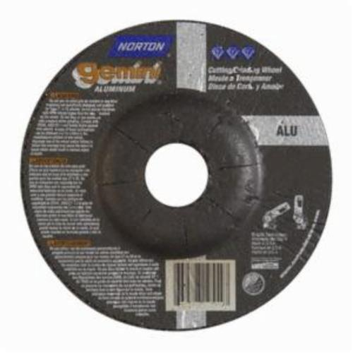 Norton® Gemini® 66252842030 DC4518GALU Type 27 Depressed Center Cut-Off Wheel With Quick-Change Hub, 4-1/2 in Dia x 1/8 in THK, 7/8 in Center Hole, 46 Grit, Aluminum Oxide Abrasive