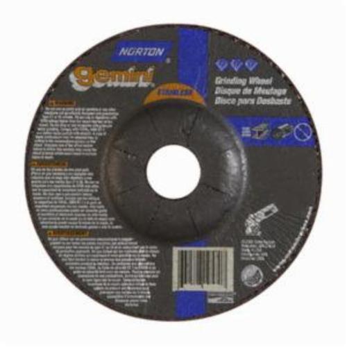 Norton® Gemini® 66252842040 DC514GSS Contaminant-Free Mini Cut-Off Wheel With Quick-Change Hub, 5 in Dia x 1/4 in THK, 7/8 in Center Hole, 24 Grit, Aluminum Oxide Abrasive