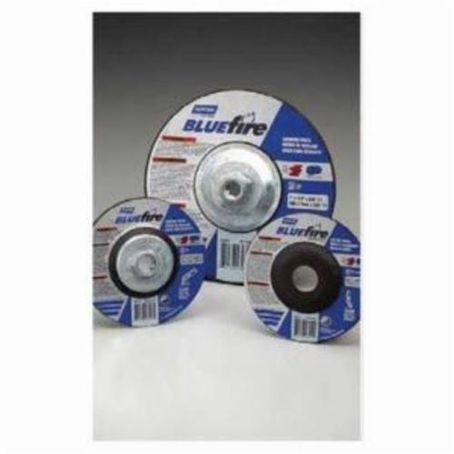 Norton® BlueFire® 66252842162 Type 27 All Purpose Depressed Center Cut-Off Wheel With Quick-Change Hub, 4-1/2 in Dia x 1/4 in THK, 24 Grit, Aluminum Oxide/Zirconia Alumina Abrasive