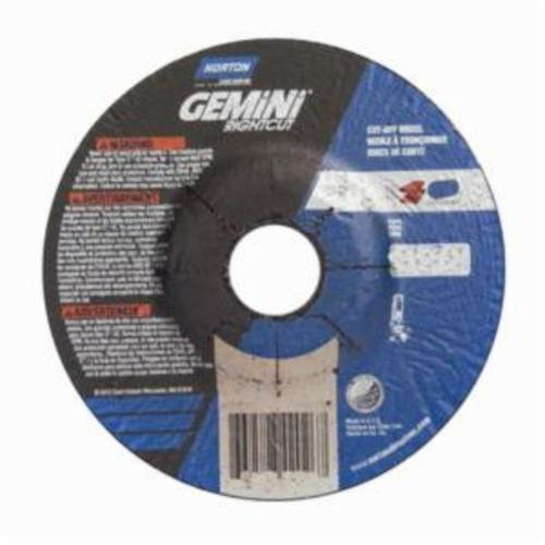 Norton® Gemini® RightCut™ 66252842171 All Purpose Cut-Off Wheel With Quick-Change Hub, 5 in Dia x 0.045 in THK, 7/8 in Center Hole, 24 Grit, Aluminum Oxide Abrasive