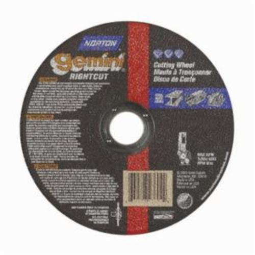 Norton® Gemini® RightCut™ 66252842175 All Purpose Cut-Off Wheel, 6 in Dia x 0.045 in THK, 7/8 in Center Hole, 24 Grit, Aluminum Oxide Abrasive