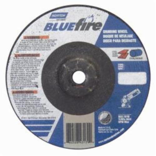 Norton® BlueFire® 66252843179 DC41438CH Type 27 All Purpose Depressed Center Cut-Off Wheel With Quick-Change Hub, 4 in Dia x 1/4 in THK, 3/8 in Center Hole, 24 Grit, Aluminum Oxide/Zirconia Alumina Abrasive