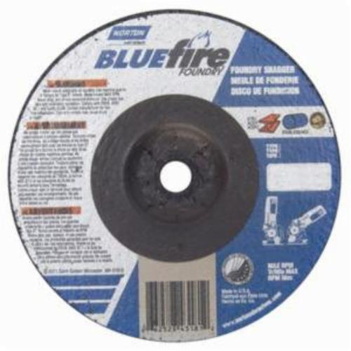 Norton® BlueFire® 66252843181 DC41438CHF All Purpose Cut-Off Wheel With Quick-Change Hub, 4 in Dia x 1/4 in THK, 3/8 in Center Hole, 24 Grit, Silicon Carbide/Zirconia Alumina Abrasive