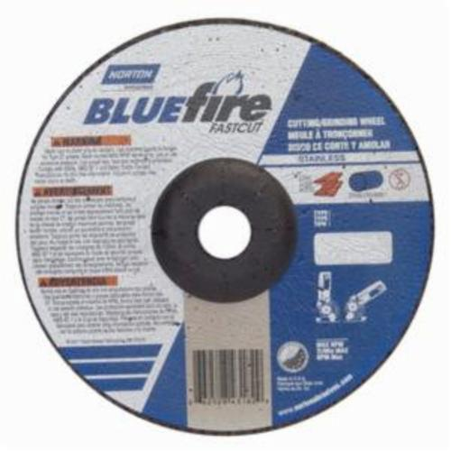 Norton® BlueFire® Fast Cut™ 66252843182 DC718CHFC Contaminant-Free Cut-Off Wheel With Quick-Change Hub, 7 in Dia x 1/8 in THK, 7/8 in Center Hole, 24 Grit, Aluminum Oxide/Zirconia Alumina Abrasive