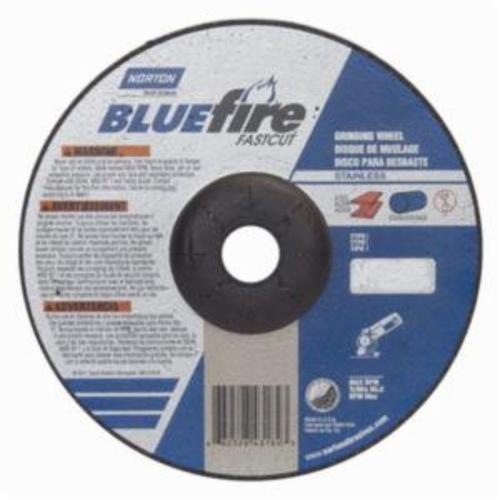 Norton® BlueFire® Fast Cut™ 66252843184 DC714CHFC Type 27 Depressed Center Contaminant-Free Cut-Off Wheel With Quick-Change Hub, 7 in Dia x 1/4 in THK, 7/8 in Center Hole, 24 Grit, Aluminum Oxide/Zirconia Alumina Abrasive