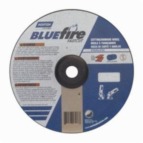 Norton® BlueFire® Fast Cut™ 66252843186 DC918CHFC Contaminant-Free Cut-Off Wheel With Quick-Change Hub, 9 in Dia x 1/8 in THK, 7/8 in Center Hole, 24 Grit, Aluminum Oxide/Zirconia Alumina Abrasive