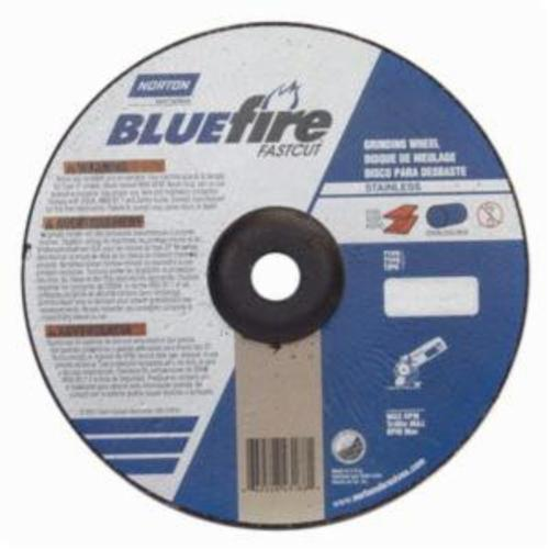 Norton® BlueFire® Fast Cut™ 66252843188 DC914CHFC Type 27 Depressed Center Contaminant-Free Cut-Off Wheel With Quick-Change Hub, 9 in Dia x 1/4 in THK, 7/8 in Center Hole, 24 Grit, Aluminum Oxide/Zirconia Alumina Abrasive
