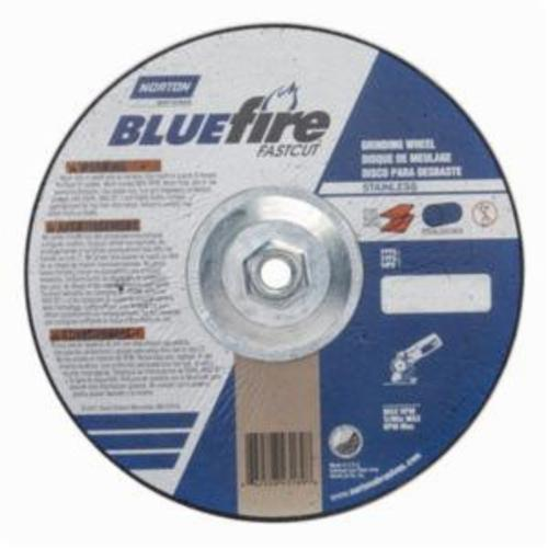 Norton® BlueFire® Fast Cut™ 66252843189 DC914HCHFC Type 27 Depressed Center Contaminant Free Cut-Off Wheel With Quick-Change Hub, 9 in Dia x 1/4 in THK, 24 Grit, Aluminum Oxide/Zirconia Alumina Abrasive