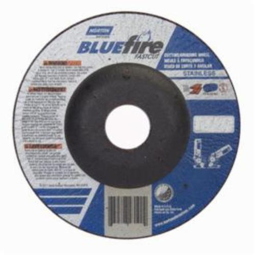 Norton® BlueFire® Fast Cut™ 66252843190 DC4518CHFC Contaminant-Free Cut-Off Wheel With Quick-Change Hub, 4-1/2 in Dia x 1/8 in THK, 7/8 in Center Hole, 24 Grit, Aluminum Oxide/Zirconia Alumina Abrasive