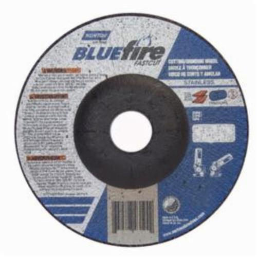 Norton® BlueFire® Fast Cut™ 66252843194 DC518CHFC Contaminant-Free Cut-Off Wheel With Quick-Change Hub, 5 in Dia x 1/8 in THK, 7/8 in Center Hole, 24 Grit, Aluminum Oxide/Zirconia Alumina Abrasive