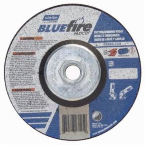 Norton® BlueFire® Fast Cut™ 66252843195 DC518HCHFC Contaminant-Free Cut-Off Wheel With Quick-Change Hub, 5 in Dia x 1/8 in THK, 24 Grit, Aluminum Oxide/Zirconia Alumina Abrasive
