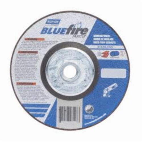 Norton® BlueFire® Fast Cut™ 66252843197 DC514HCHFC Type 27 Depressed Center Contaminant Free Cut-Off Wheel With Quick-Change Hub, 5 in Dia x 1/4 in THK, 24 Grit, Aluminum Oxide/Zirconia Alumina Abrasive
