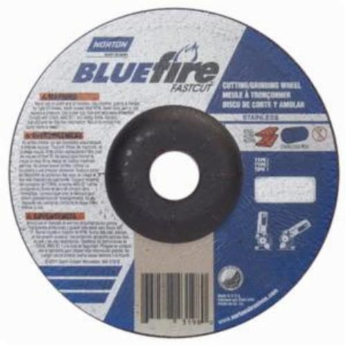 Norton® BlueFire® Fast Cut™ 66252843198 DC618CHFC Contaminant-Free Cut-Off Wheel With Quick-Change Hub, 6 in Dia x 1/8 in THK, 7/8 in Center Hole, 24 Grit, Aluminum Oxide/Zirconia Alumina Abrasive