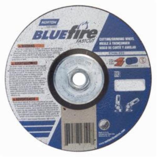 Norton® BlueFire® Fast Cut™ 66252843199 DC618HCHFC Contaminant-Free Cut-Off Wheel With Quick-Change Hub, 6 in Dia x 1/8 in THK, 24 Grit, Aluminum Oxide/Zirconia Alumina Abrasive