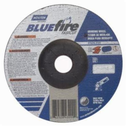 Norton® BlueFire® Fast Cut™ 66252843200 DC614CHFC Type 27 Depressed Center Contaminant-Free Cut-Off Wheel With Quick-Change Hub, 6 in Dia x 1/4 in THK, 7/8 in Center Hole, 24 Grit, Aluminum Oxide/Zirconia Alumina Abrasive