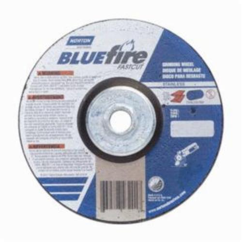 Norton® BlueFire® Fast Cut™ 66252843201 DC614HCHFC Type 27 Depressed Center Contaminant Free Cut-Off Wheel With Quick-Change Hub, 6 in Dia x 1/4 in THK, 24 Grit, Aluminum Oxide/Zirconia Alumina Abrasive