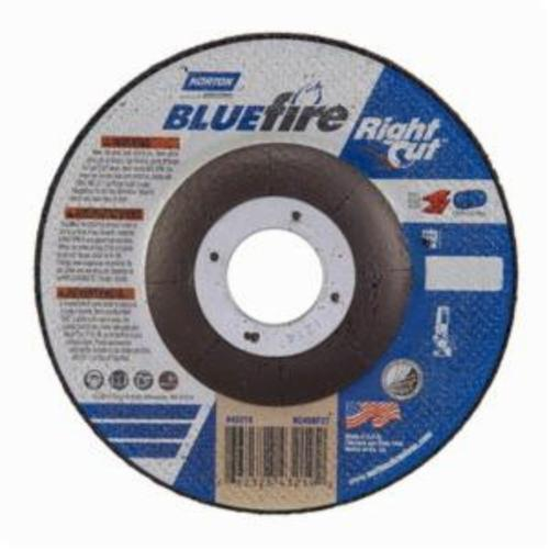 Norton® BlueFire® RightCut™ 66252843219 RC45CH27 All Purpose Cut-Off Wheel, 4-1/2 in Dia x 0.045 in THK, 7/8 in Center Hole, 24 Grit, Aluminum Oxide/Zirconia Alumina Abrasive