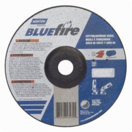 Norton® BlueFire® 66252843234 DC718CH All Purpose Cut-Off Wheel With Quick-Change Hub, 7 in Dia x 1/8 in THK, 7/8 in Center Hole, 24 Grit, Aluminum Oxide/Zirconia Alumina Abrasive