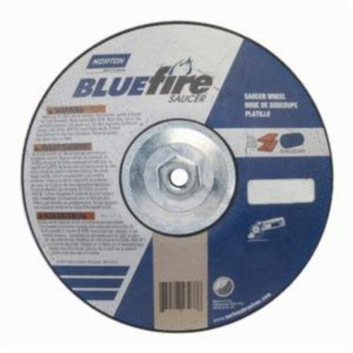 Norton® BlueFire® 66252843237 DS7914HCH All Purpose Saucer Cut-Off Wheel With Quick-Change Hub, 9 in Dia x 1/4 in THK, 24 Grit, Aluminum Oxide/Zirconia Alumina Abrasive