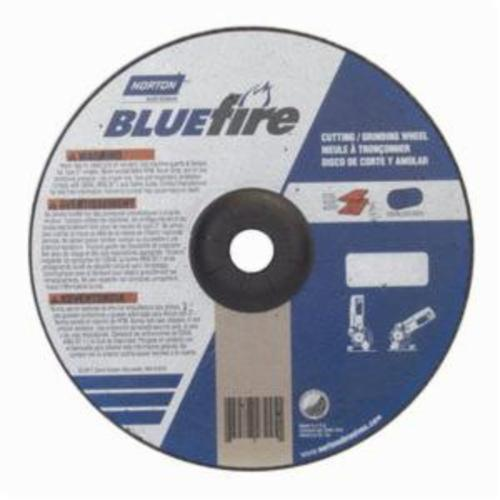 Norton® BlueFire® 66252843245 DC918CH All Purpose Cut-Off Wheel With Quick-Change Hub, 9 in Dia x 1/8 in THK, 7/8 in Center Hole, 24 Grit, Aluminum Oxide/Zirconia Alumina Abrasive