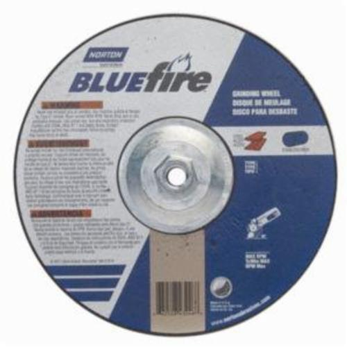 Norton® BlueFire® 66252843246 DC914HCH Type 27 All Purpose Depressed Center Cut-Off Wheel With Quick-Change Hub, 9 in Dia x 1/4 in THK, 24 Grit, Aluminum Oxide/Zirconia Alumina Abrasive