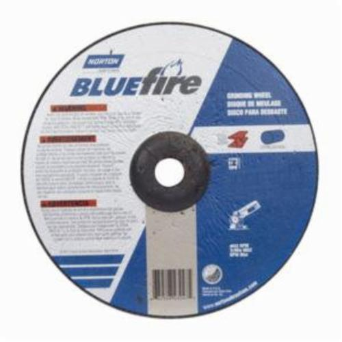 Norton® BlueFire® 66252843247 DC914CH Type 27 All Purpose Depressed Center Cut-Off Wheel With Quick-Change Hub, 9 in Dia x 1/4 in THK, 7/8 in Center Hole, 24 Grit, Aluminum Oxide/Zirconia Alumina Abrasive