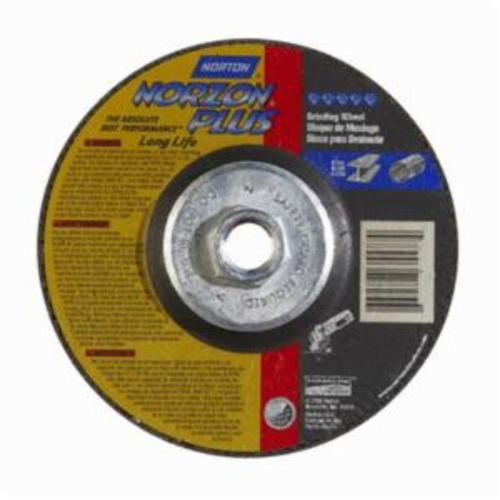 Norton® NorZon® Plus® 66252843333 DC514HNZPLL Type 27 Depressed Center Long Life Cut-Off Wheel With Quick-Change Hub, 5 in Dia x 1/4 in THK, 20 Grit, Ceramic Alumina/Zirconia Alumina Abrasive