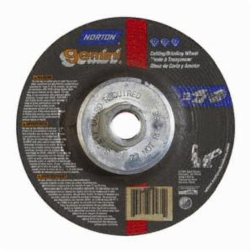Norton® Gemini® 66252843590 DC4518HG All Purpose Mini Cut-Off Wheel With Quick-Change Hub, 4-1/2 in Dia x 1/8 in THK, 24 Grit, Aluminum Oxide Abrasive