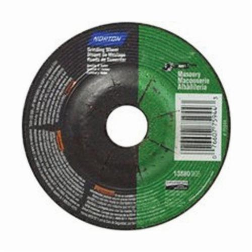 Norton® 66252843600 Depressed Center Wheel, 4-1/2 in Dia x 1/8 in THK, 7/8 in Center Hole, 24 Grit, Silicon Carbide Abrasive