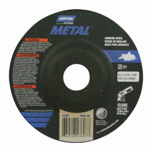 Norton® 66252843607 Depressed Center Wheel, 4-1/2 in Dia x 1/4 in THK, 7/8 in Center Hole, 24 Grit, Aluminum Oxide Abrasive