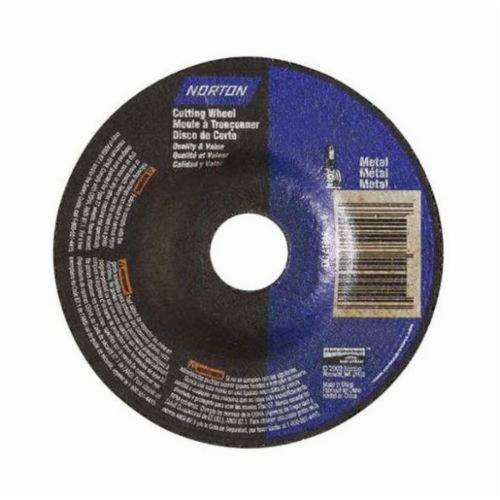 Norton® 66252843611 Depressed Center Wheel, 4-1/2 in Dia x 1/8 in THK, 7/8 in Center Hole, 24 Grit, Aluminum Oxide Abrasive