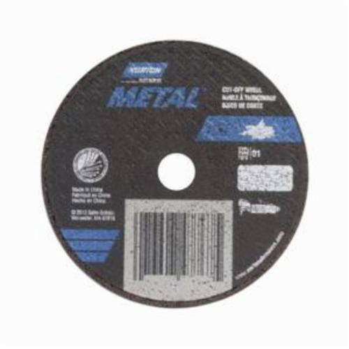 Norton® Metal® 66252843624 All Purpose Small Diameter Cut-Off Wheel With Mandrel, 3 in Dia x 1/16 in THK, 3/8 in Center Hole, 46 Grit, Aluminum Oxide Abrasive
