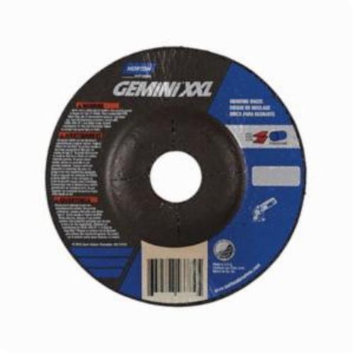 Norton® Gemini® 66252843784 DC4514GXXL Type 27 Depressed Center 2XL Cut-Off Wheel, 4-1/2 in Dia x 1/4 in THK, 7/8 in Center Hole, 24 Grit, Aluminum Oxide Abrasive