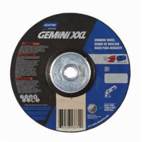 Norton® Gemini® 66252843789 DC614HGXXL Type 27 2XL Depressed Center Cut-Off Wheel, 6 in Dia x 1/4 in THK, 24 Grit, Aluminum Oxide Abrasive