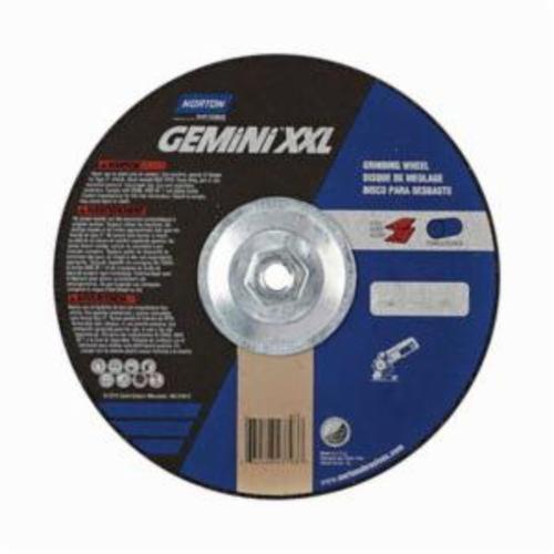 Norton® Gemini® 66252843793 DC914HGXXL Type 27 2XL Depressed Center Cut-Off Wheel, 9 in Dia x 1/4 in THK, 24 Grit, Aluminum Oxide Abrasive